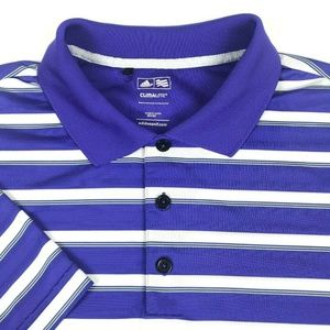 Adidas Climalite Purple White Striped Golf Polo XL